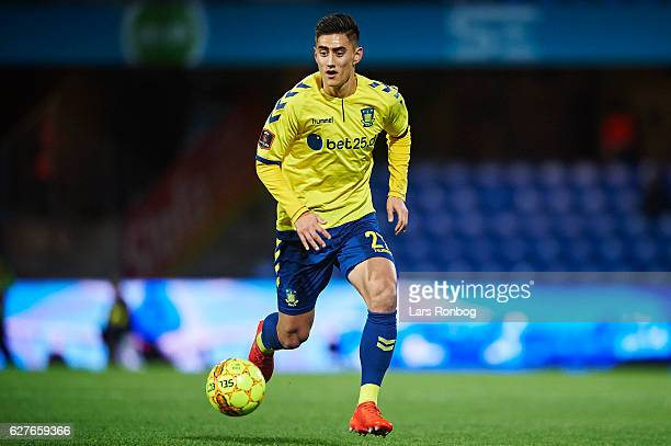 Svenn Crone of Brondby IF controls the ball during the Danish Alka Superliga match between Esbjerg fB and Brondby IF at Blue Water Arena on December...