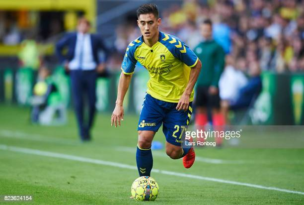 Svenn Crone of Brondby IF controls the ball during the UEFA Europa League Qual match between Brondby IF and Hajduk Split at Brondby Stadion on July...