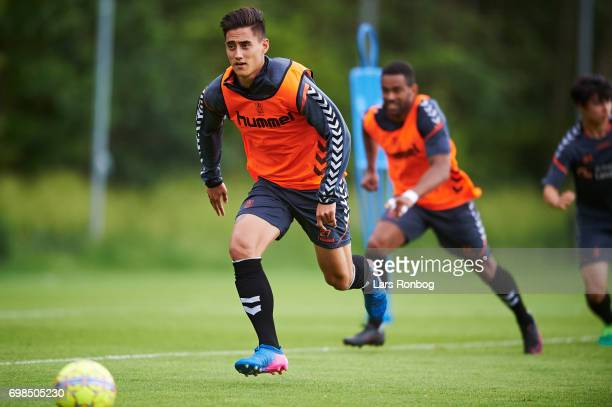 Svenn Crone of Brondby IF in action during the Brondby IF training session at Brondby Stadion on June 20 2017 in Brondby Denmark