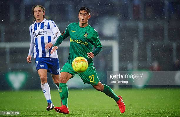Svenn Crone of Brondby IF in action during the Danish Alka Superliga match between OB Odense and Brondby IF at EWII Park on November 20 2016 in...