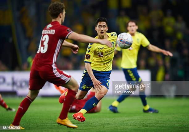 Svenn Crone of Brondby IF in action during the Danish Alka Superliga match between Brondby IF and Lyngby BK at Brondby Stadion on May 18 2017 in...