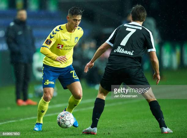 Svenn Crone of Brondby IF in action during the Danish Cup DBU Pokalen match between BK Marienlyst and Brondby IF at Brondby Stadion on March 08 2017...