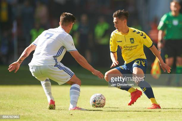 Svenn Crone of Brondby IF in action during the Danish Cup Final DBU Pokalen match between FC Copenhagen and Brondby IF at Telia Parken Stadium on May...