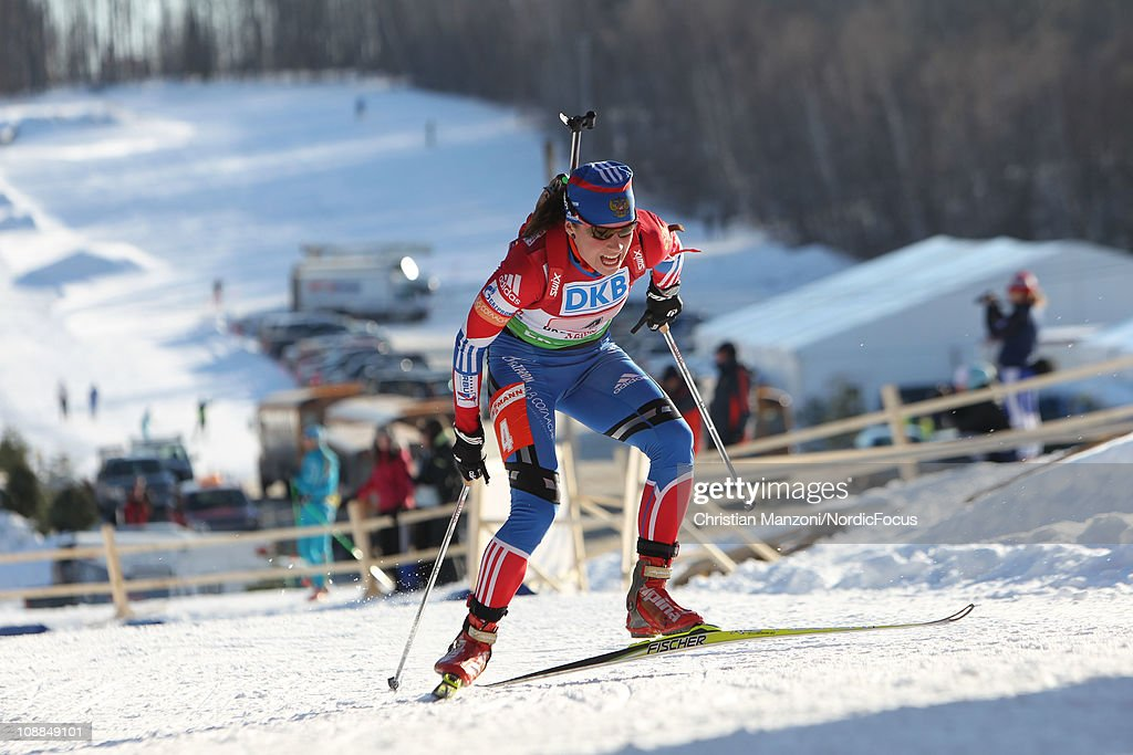 Sventlana Sleptsova of Russia competes in the mixed relay during the E.ON IBU Biathlon World Cup on February 5, 2011 in Presque Isle, Maine.