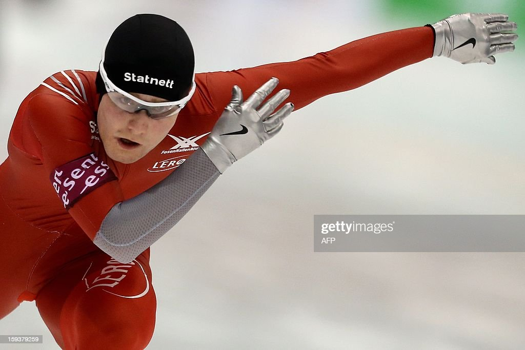 Sverre Lunde Pedersen of Norway competes during the 1500 meters race at the European Speed Skating Championships in Heerenveen, on January 12, 2013. The championships started on January 11 and will end on January 13.
