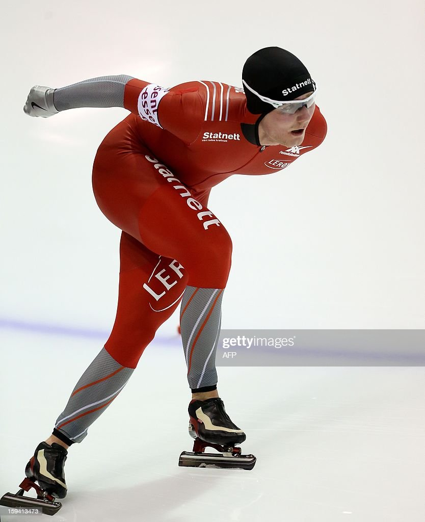 Sverre Lunde Pedersen of Norway competes during the men's 10,000 meter race at the European Speed Skating Championships in Heerenveen, The Netherlands, on January 13, 2013.
