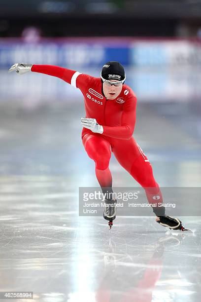 Sverre Lunde Pedersen of Norway competes in the 5000m Men Division A on day 1 of the ISU Speed Skating World Cup at the Hamar Olympic Hall on January...