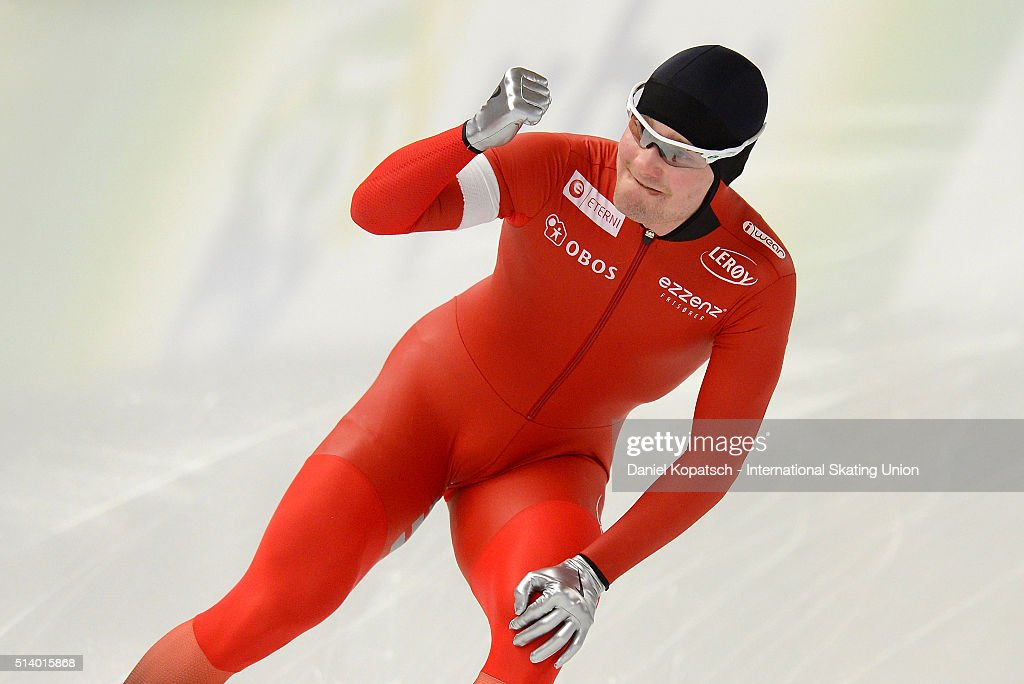 <a gi-track='captionPersonalityLinkClicked' href=/galleries/search?phrase=Sverre+Lunde+Pedersen&family=editorial&specificpeople=6523814 ng-click='$event.stopPropagation()'>Sverre Lunde Pedersen</a> of Norway reacts after the Men 1500 M during day two of ISU Allround Speed Skating World Championship on March 6, 2016 in Berlin, Germany.