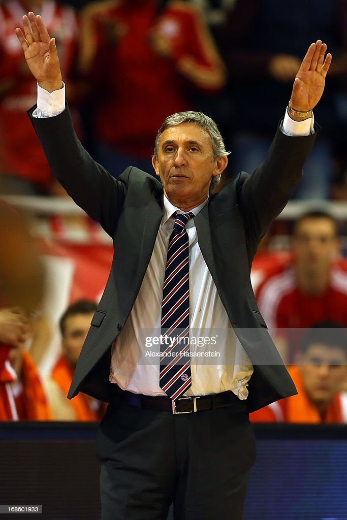 Svetislav Pesic , head coach of Muenchen reacts during Game 3 of the quarterfinals of the Beko Basketball Playoffs between FC Bayern Muenchen and ALBA Berlin at Audi-Dome on May 12, 2013 in Munich, Germany.