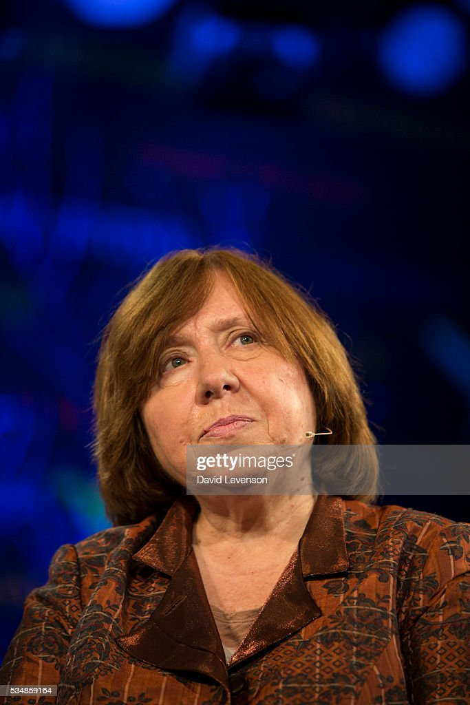 <a gi-track='captionPersonalityLinkClicked' href=/galleries/search?phrase=Svetlana+Alexievich&family=editorial&specificpeople=7576344 ng-click='$event.stopPropagation()'>Svetlana Alexievich</a>, the 2015 Nobel Literature Laureate at the Hay Festival, on May 28, 2016 in Hay-on-Wye, Wales.