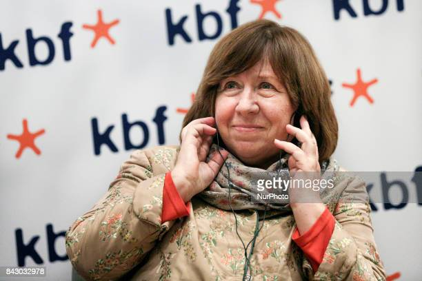 Svetlana Alexievich the Belarusian writer and Noble Prize winner in Literature met with readers at the International Cultural Centre in Krakow Poland...