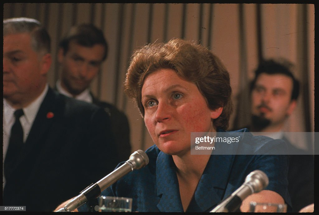 Svetlana Alliluyeva daughter of Josef Stalin who caused a sensation by defecting to the United States is shown here during a press conference at the...