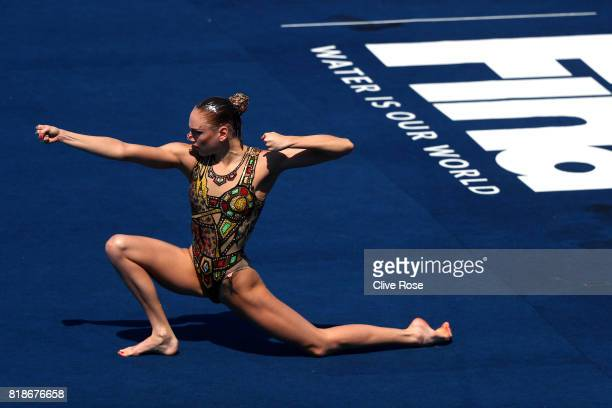 Svetlana Kolesnichenko of Russia competes during the Synchronised Swimming Solo Free Final on day six of the Budapest 2017 FINA World Championships...