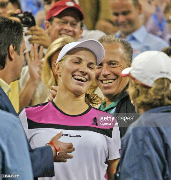 Svetlana Kuznetsova celebrates after her women's final victory at the US Open over Elena Dementieva Kuznetsova won in straight sets 63 75