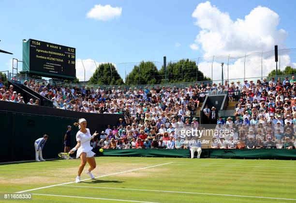 Svetlana Kuznetsova during her match against Agnieszka Radwanska on day seven of the Wimbledon Championships at The All England Lawn Tennis and...