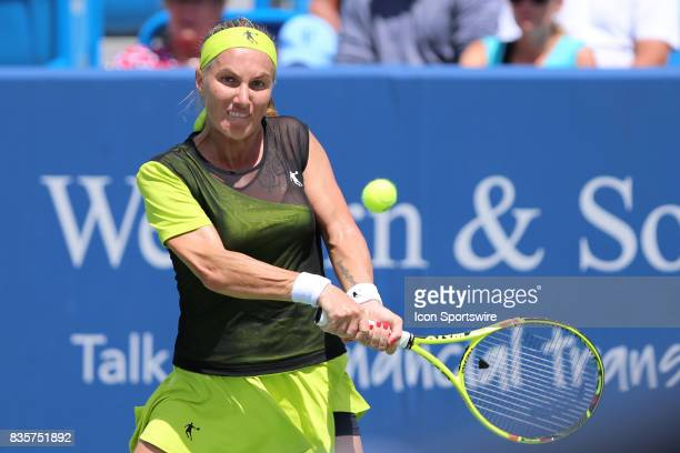 Svetlana Kuznetsova hits a backhand during the Western Southern Open at the Lindner Family Tennis Center in Mason Ohio on August 18th 2017