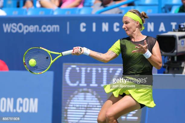Svetlana Kuznetsova hits a forehand during the Western Southern Open at the Lindner Family Tennis Center in Mason Ohio on August 18th 2017