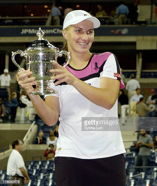 Svetlana Kuznetsova holds the championship trophy after her women's final victory at the US Open over Elena Dementieva Kuznetsova won in straight...