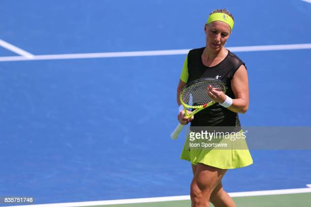 Svetlana Kuznetsova looks at her racket during the Western Southern Open at the Lindner Family Tennis Center in Mason Ohio on August 18th 2017