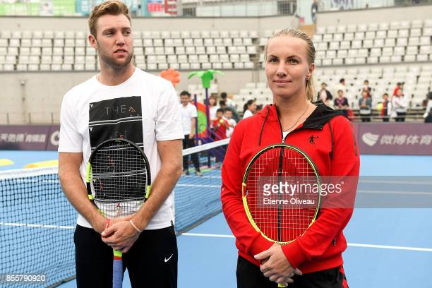 Svetlana Kuznetsova of Russia and Jack Sock of the United States attend the MercedesBenz Kids event during day 1 of the 2017 China Open at the China...