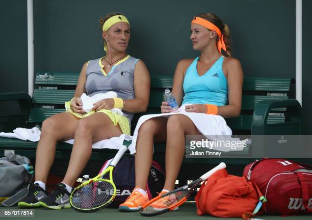 Svetlana Kuznetsova of Russia and Kristina Mladenovic of France in their doubles match against Johanna Konta of Great Britain and Daria Gavrilova of...