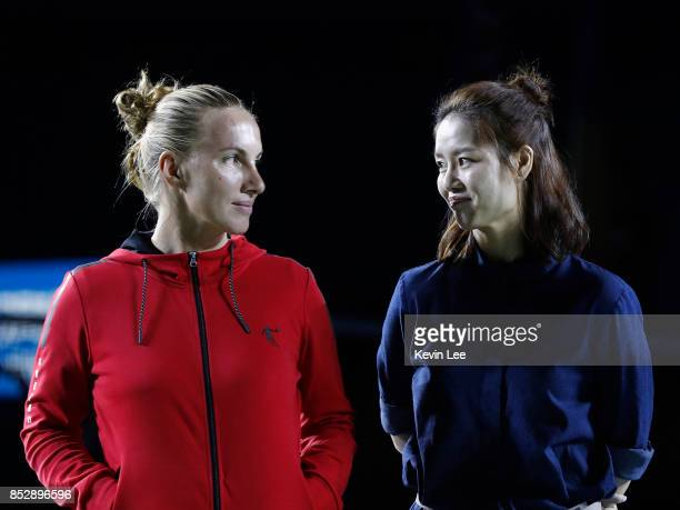 Svetlana Kuznetsova of Russia and Li Na of China attend the opening ceremony of 2017 Wuhan Open on September 24 2017 in Wuhan China