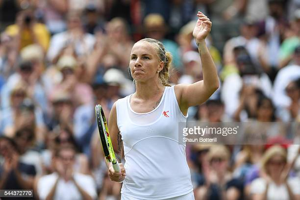 Svetlana Kuznetsova of Russia celebrates during the Ladies Singles third round match against Sloane Stephens of The United States on Middle Sunday of...