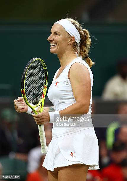 Svetlana Kuznetsova of Russia celebrates victory during the Ladies Singles first round match against Caroline Wozniacki of Denmark on day two of the...