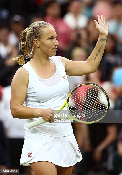 Svetlana Kuznetsova of Russia celebrates victory during the Ladies Singles first round match against Caroline Wozniacki of Denmark on day two of the...