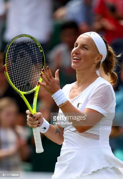 Svetlana Kuznetsova of Russia celebrates victory during the Ladies Singles fourth round match against Agnieszka Radwanska of Poland on day seven of...