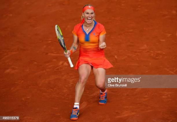 Svetlana Kuznetsova of Russia celebrates victory in her women's singles match against Lucie Safarova of Czech Republic on day nine of the French Open...