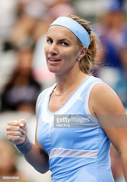 Svetlana Kuznetsova of Russia celebrates winning match point in her semi final match against Simona Halep of Romania during day six of the 2016...