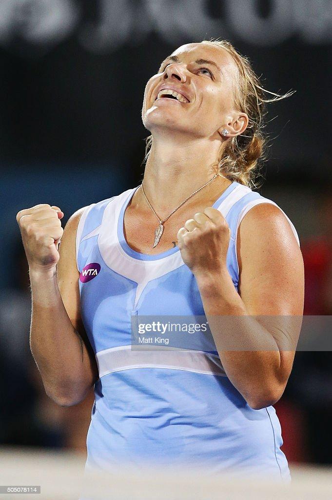 Svetlana Kuznetsova of Russia celebrates winning the final match against Monica Puig of Puerto Rico day six of the 2016 Sydney International at Sydney Olympic Park Tennis Centre on January 15, 2016 in Sydney, Australia.