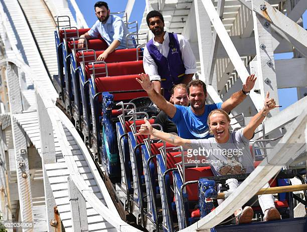 Svetlana Kuznetsova of Russia enjoys having fun on the scenic railway at Luna Park during day four of the 2017 Australian Open at Melbourne Park on...