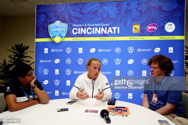 Svetlana Kuznetsova of Russia fields questions from the media during day 3 of the Western Southern Open at the Lindner Family Tennis Center on August...