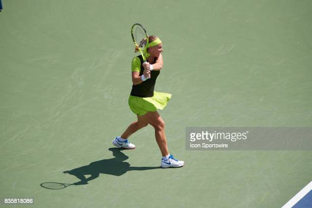Svetlana Kuznetsova of Russia hits a backhand during a match in the Western Southern Open at the Lindner Family Tennis Center in Cincinnati OH