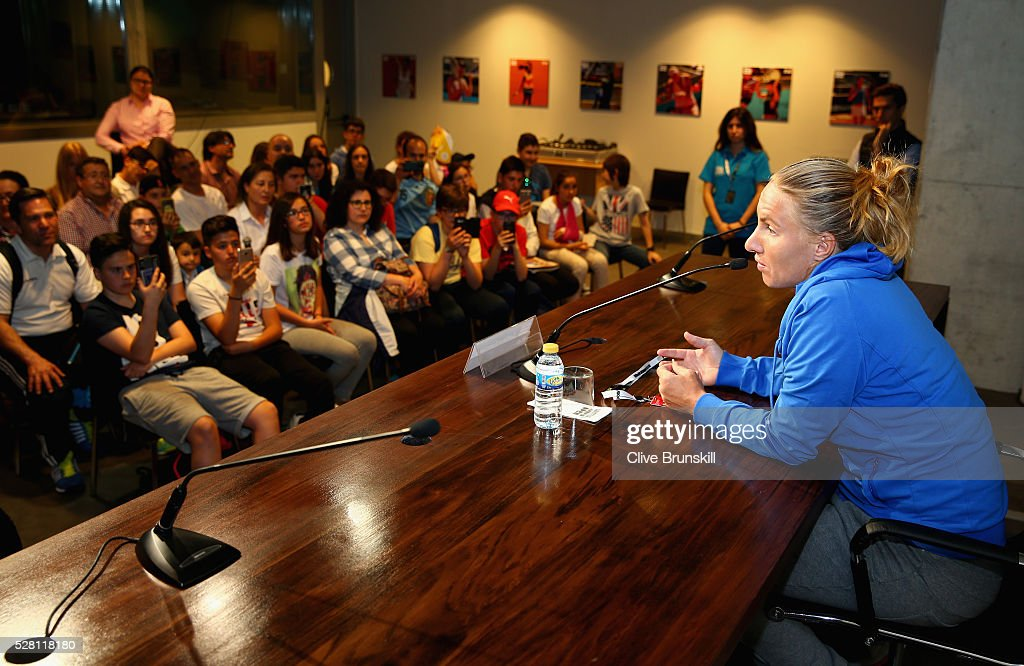 Svetlana Kuznetsova of Russia holds a press conference for young children to ask their questions to her during day five of the Mutua Madrid Open tennis tournament at the Caja Magica on May 04, 2016 in Madrid.