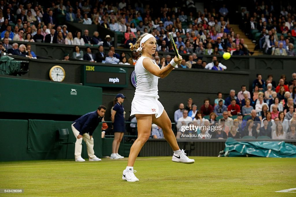 Svetlana Kuznetsova of Russia in action against Caroline Wozniacki (not seen) of Denmark (not seen) during the Women's Singles on day two of the 2016 Wimbledon Championships at the All England Lawn and Croquet Club in London, United Kingdom on June 28, 2016.