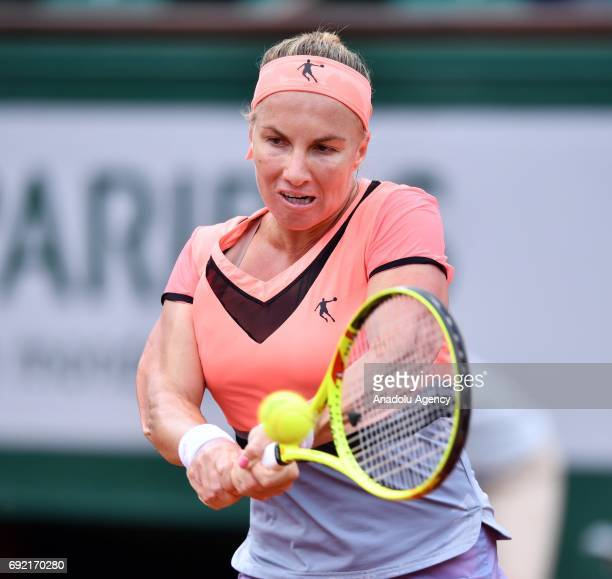 Svetlana Kuznetsova of Russia in action against Caroline Wozniacki of Denmark in their 4th round match of the French Open tennis tournament at the...