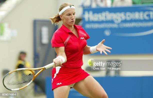 Svetlana Kuznetsova of Russia in action against Maria VentoKabchi of Venezuela on centre court at the Hastings Direct International Championships in...