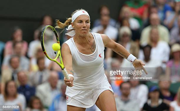 Svetlana Kuznetsova of Russia in action during her defeat by Serena Williams of USA in their Ladies Singles Fourth Round match on day seven of the...