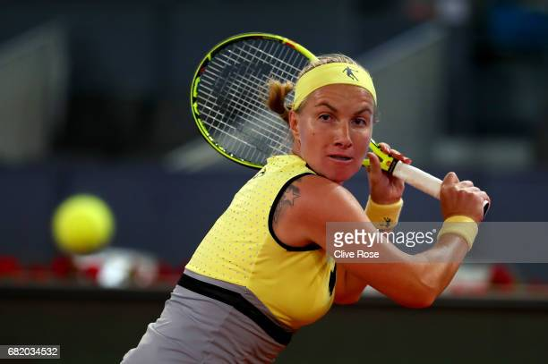 Svetlana Kuznetsova of Russia in action during her match against Eugenie Bouchard of Canada on day six of the Mutua Madrid Open tennis at La Caja...