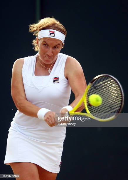 Svetlana Kuznetsova of Russia in action during her second round match against Anastasia Rodionova of Australia on Day Four of the Wimbledon Lawn...