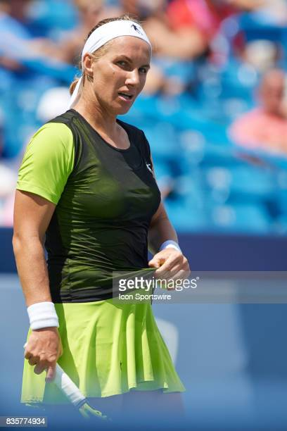 Svetlana Kuznetsova of Russia looks at a ball person during a match in the Western Southern Open at the Lindner Family Tennis Center in Cincinnati OH