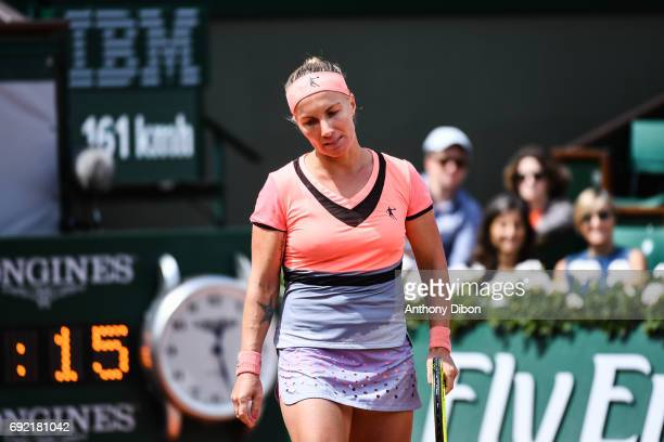 Svetlana Kuznetsova of Russia looks dejected during the day 8 of the French Open at Roland Garros on June 4 2017 in Paris France