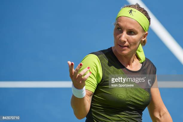 Svetlana Kuznetsova of Russia looks for a towel during a match in the Western Southern Open at the Lindner Family Tennis Center in Mason Ohio on...