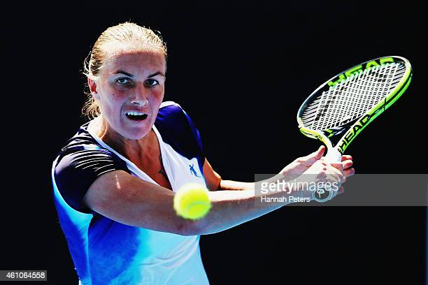 Svetlana Kuznetsova of Russia plays a backhand during her match against Lucie Hradecka of Czech Republic on day two of the 2015 ASB Classic at ASB...
