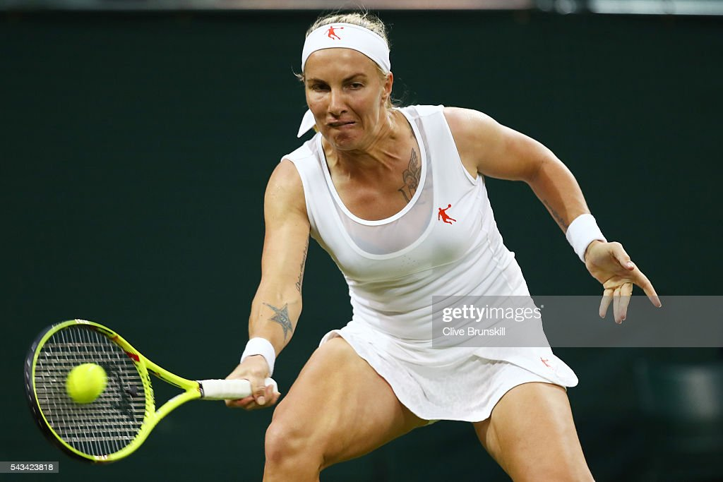 Svetlana Kuznetsova of Russia plays a forehand during the Ladies Singles first round match against Caroline Wozniacki of Denmark on day two of the Wimbledon Lawn Tennis Championships at the All England Lawn Tennis and Croquet Club on June 28, 2016 in London, England.