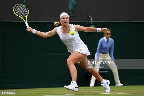 Svetlana Kuznetsova of Russia plays a forehand during the Ladies Singles third round match against Sloane Stephens of The United States on Middle...