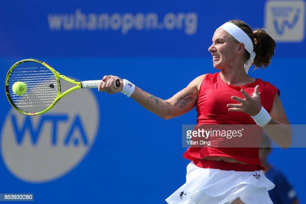 Svetlana Kuznetsova of Russia plays a forehand during the second round Ladies Singles match against Alize Cornet of France on Day 3 of 2017 Dongfeng...